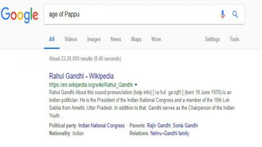 'Pappu' Search Result leads to Rahul Gandhi on Google