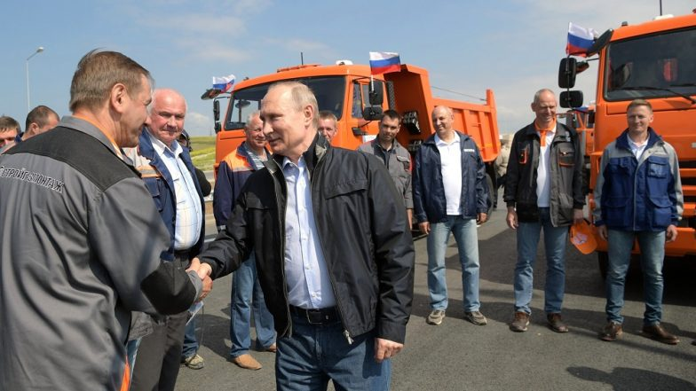 Russia Cements Its Annexation of Crimea As Putin Drives Truck Across New Link Bridge