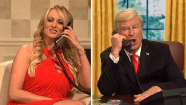 Porn Star Stormy Daniels Warns US President Donald Trump of a Storm in Saturday Night Live (Watch Video)