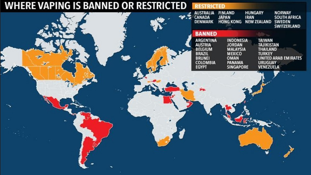A map showing which countries have placed a ban on e-cigarettes