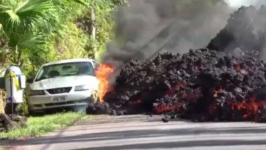 As Kilauea Volcano Erupts in Hawaii Island, Timelapse Video Shows Car Being Burnt by The Molten Lava