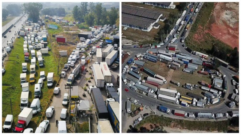 Truck Drivers Blocking Highways in Brazil To Protest Against Fuel Price Hike! Prices of Petrol and Diesel in India Rising Daily, Hope We Don't See this Day