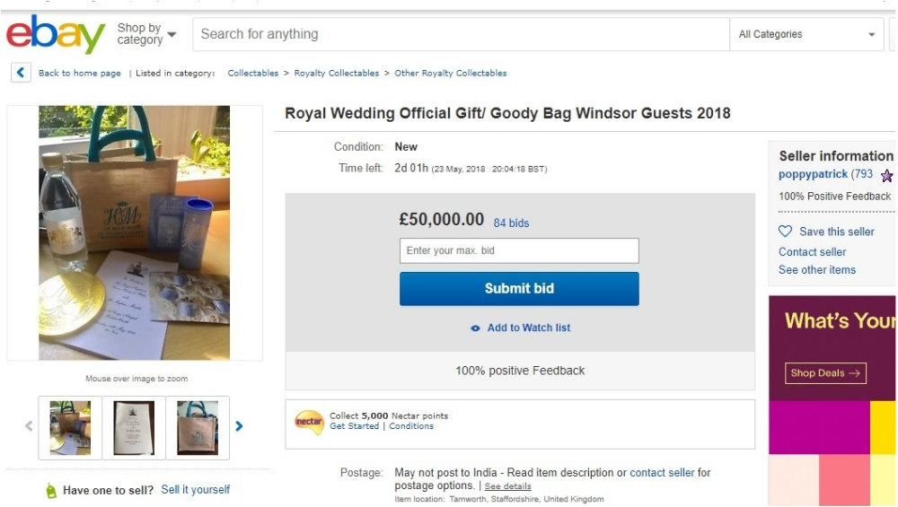 Royal wedding gift bid on eBay