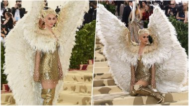 Met Gala 2018 Red Carpet: Pop Singer Katy Perry Steps Out in Giant Angel Wings, Internet Has Hilarious Response