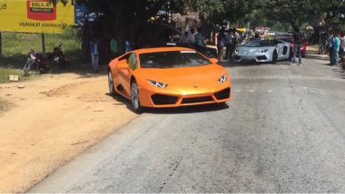 Lamborghini Convoy Causes Huge Traffic Jam: 18 Cars Struggles to Clear a Speed Breaker; Watch Video
