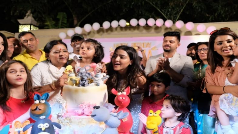 MS Dhoni, Harbhajan Singh attend Suresh Raina's daughter's Birthday