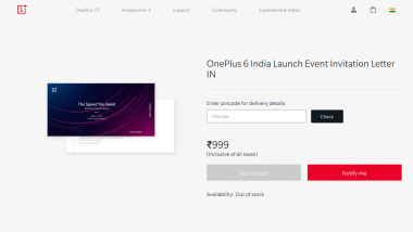 OnePlus 6 India Launch Tickets Immediately Goes Out of Stock