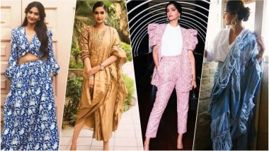 Sonam Kapoor During Veere Di Wedding Promotions: From Denim Saree to a Pant Suit, the Newly Wed Actress Reveals Her Quirkiness (View Pics)