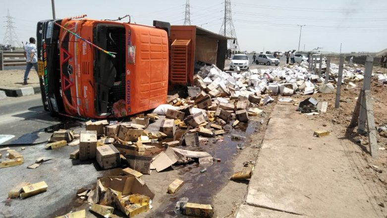 Truck Carrying Alcohol in Dry State Gujarat, Topples Over in Kutch's Bhachau District