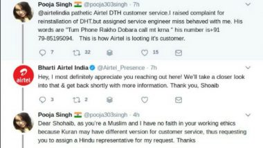 Airtel Agrees to a Customer's Demand for a Hindu Representative as Girl Refuses Help From Muslim Customer Executive! Faces Criticism For The Action