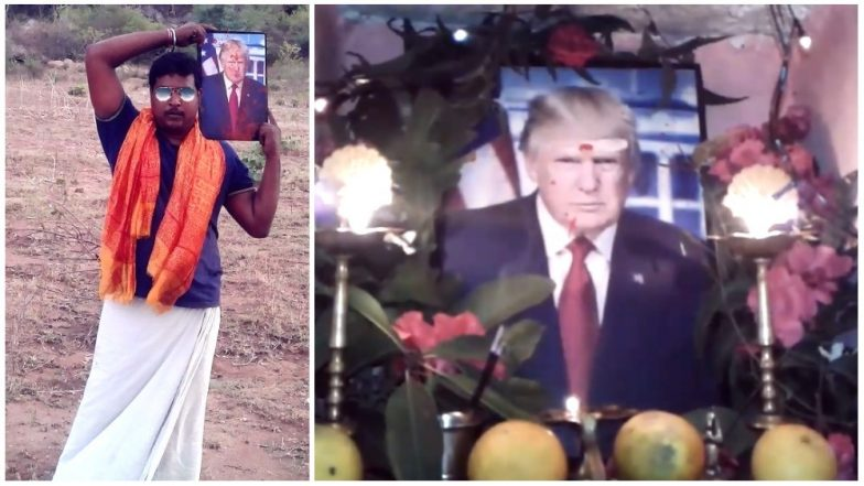 Telangana Farmer Bussa Krishna Worships US President Donald Trump Daily: Watch Video to Believe!