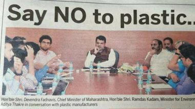 Maharashtra CM Devendra Fadnavis Sitting for a 'No Plastic' Conference With Plastic Water Bottles Trolled Online, View Pic!