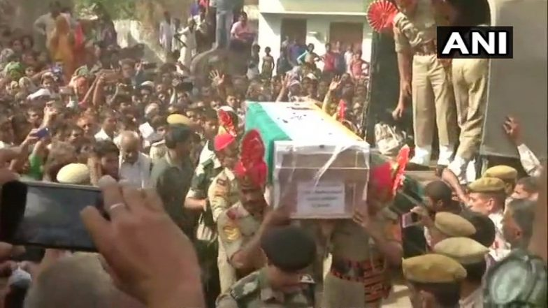 Ceasefire Violation: Mortal Remains of Martyred BSF Assistant Commandant Brought To His Native Village in Bharatpur