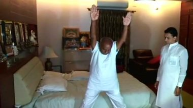 HD Deve Gowda Performs Yoga to Mark International Day of Yoga 2018, View Pics of Ex-PM