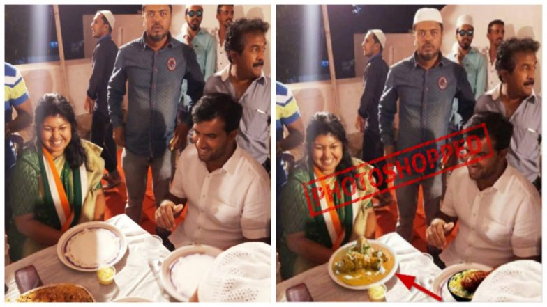 Jayanagar Bypoll 2018: Photoshopped Image of Congress Candidate Sowmya Reddy Eating Non Vegetarian Food Circulated on Social Media