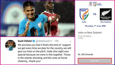 Sunil Chhetri's Thanks Fans With a Heartfelt Message on Twitter; IND vs NZ at Hero Intercontinental Cup Match Tickets Sold Out!