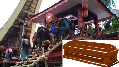 Indonesian Man Killed by Falling Mother's Coffin: Disturbing Graphic Video Shows the Man Crushed to Death!