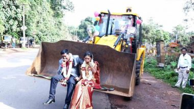 JCB Ride for Newly Wed Karnataka Couple! View Pics of the Unique Procession