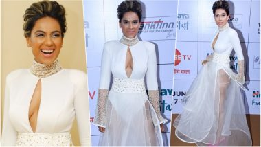 Nia Sharma Bold White Cleavage-Revealing Naked Dress at Zee Gold Awards 2018 Red Carpet is HOT & SEXY! View Pics