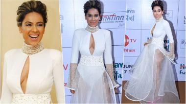 Nia Sharma Bold White Cleavage-Revealing Naked Dress at Zee