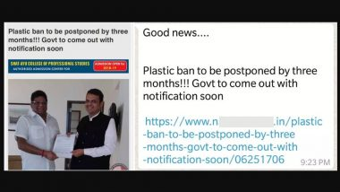 Fake Message Alert: Is Plastic Ban in Maharashtra Postponed By Three Months? Viral Messages Circulated on WhatsApp and Facebook Messenger Are Hoax!