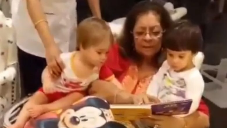 Karan Johar's Mother, Hiroo Reading Out to Yash and Roohi Is the Cutest Thing You Will See on the Internet Today – Watch Video