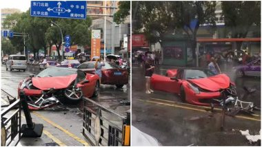 Brand New Rs 4.5 Crore Worth Ferrari Destroyed in Seconds As Woman Loses Control, Watch Video
