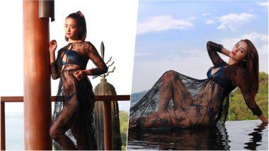 Surveen Chawla Looks Smoking Hot in Her Latest See-Through Blue Bikini, See Pics