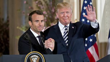 Donald Trump & Emmanuel Macron Firm Handshake! French President Leaves White Marks on His US Counterpart's Skin; Twitterati Tickles