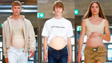Male Models Walk The Ramp With Fake Pregnant Bellies in London, View Pics!