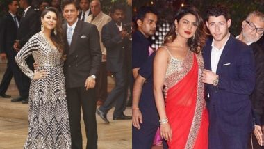 Akash Ambani-Shloka Mehta's Engagement Ceremony: Shah Rukh Khan Poses With Wife Gauri, Priyanka Chopra With Nick Jonas – Check Out Celebs Who Attended the Function