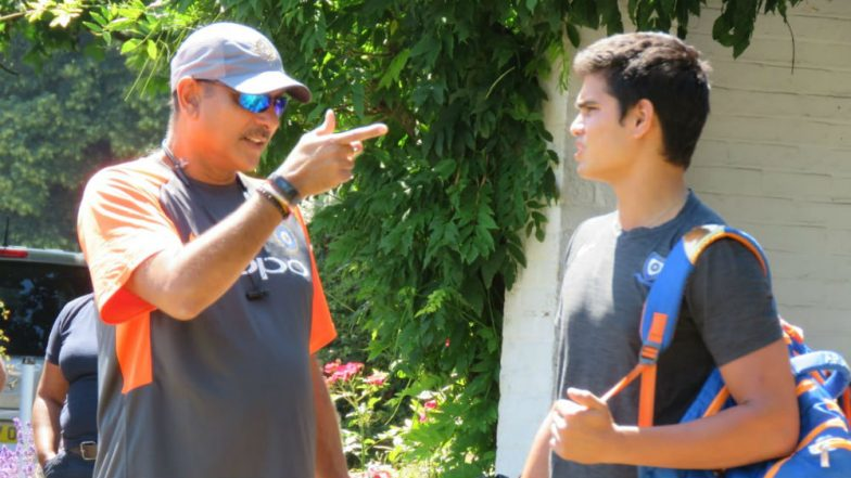Arjun Tendulkar Trains With Indian Cricket Team Ahead of IND vs IRE T20I Series, Coach Ravi Shastri Has 'Words of Wisdom' for Him