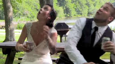 Newlywed Couple Experiences Near Death Experience As Tree Branch Comes Falling Down (Watch Video)