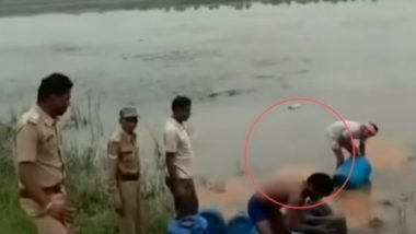 Illegal Liquor Poured in Narmada, Congress Slams Madhya Pradesh Excise Officials for Making the River 'Impure', Watch Video