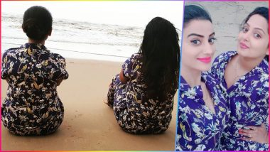 Akshara Singh and Anjana Singh Go Twinning in Printed Blue PJs: See Pictures of Hot Bhojpuri Actresses Bonding on Their Beach Vacay!