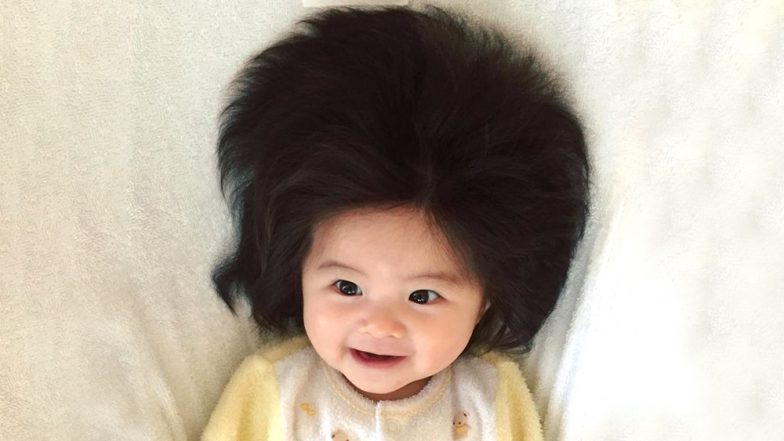 7-Month-Old Japanese Baby Chanco With Full Hair Like An Adult Becomes Online Sensation