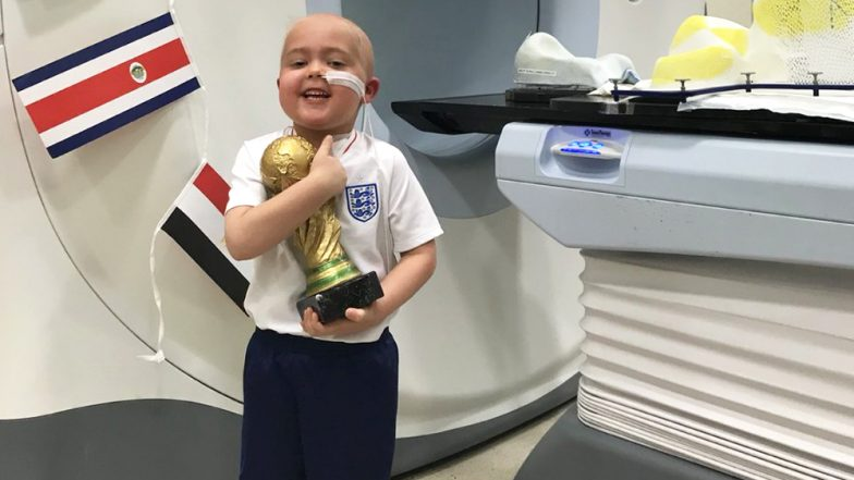 Little Ben Holding His World Cup Trophy After Radiotherapy Is an Inspiration for England to Win 2018 FIFA World Cup