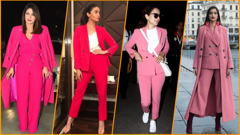 Bollywood Actresses in Hot Pink Pant Suit: Kangana Ranaut's Airport Look Adds to Top Five Power Suit Moments!
