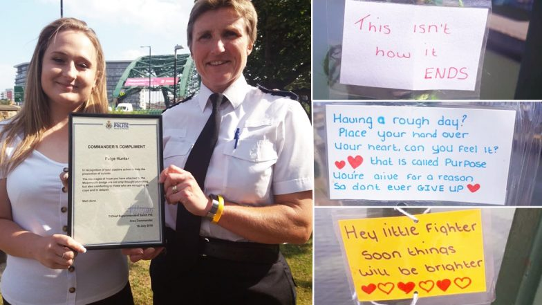 Teenager Prevents 6 Suicides By Writing Inspiring Notes on Suicide Spot 'Wearmouth Bridge' in England