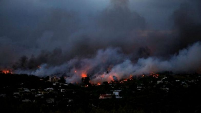 The coastal city of Mati in Greece nearly  completely destroyed by fire