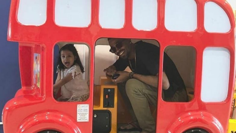Ziva Dhoni Takes Hardik Pandya for a Ride in Toy Bus! See Cute Picture of MS Dhoni's Daughter From Cardiff