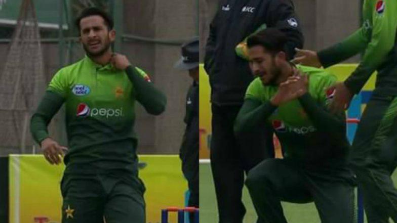 Hasan Ali's 'Bomb-Explosion' Celebration During PAK vs ZIM Cricket Match Turns Painful, Watch Video