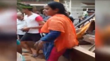 Gwalior: Women Sit on JCB Machine to Protest Against Anti-encroachment Drive, Watch Video