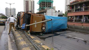 Mumbai Traffic Update: Huge Jam at Lalbagh Flyover As Overloaded Truck Overturns