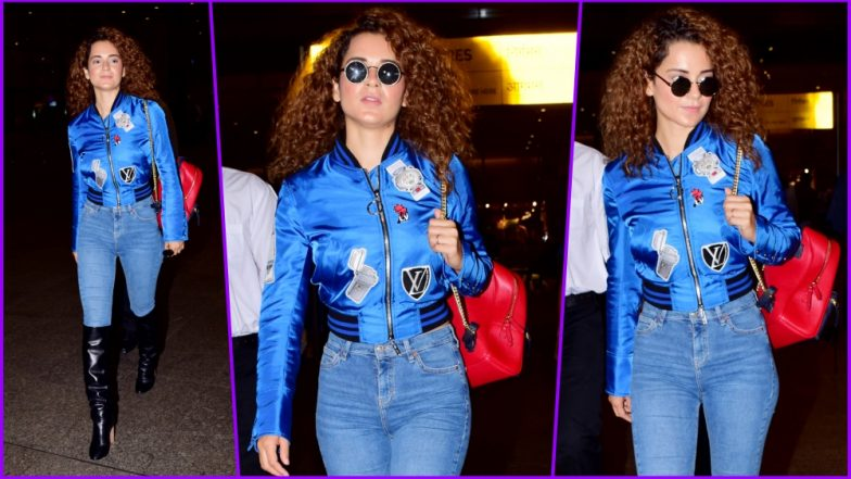 Kangana Ranaut Wears a Chic Blue Bomber Jacket and Knee-High Boots for an Uber-Stylish Airport Look (See Pictures)