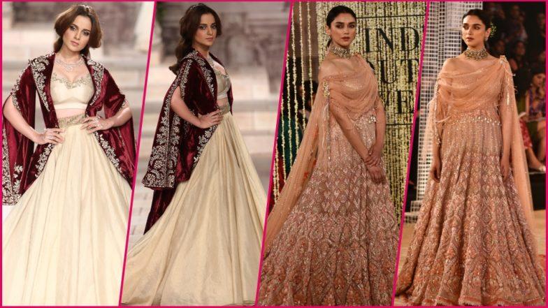 India Couture Week 2018 Day 1: Kangana Ranaut and Aditi Rao Hydari Set the Ramp on Fire for Anju Modi and Tarun Tahiliani Bridal Dress (See Pics)