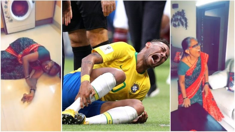 Neymar Challenge Mimicry Video: Watch Indian Lady Enact Brazilian Footballer's Diving Antics at FIFA World Cup 2018!