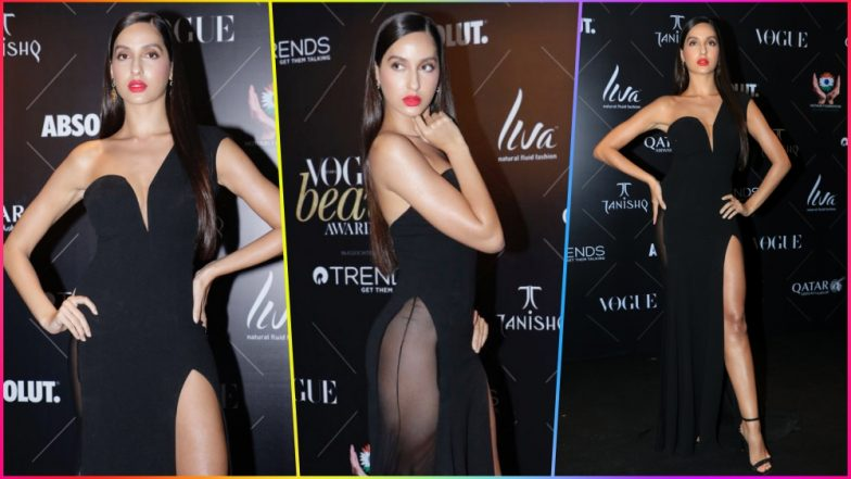 Nora Fatehi Wears a Daring 'Naked' Dress at Vogue Beauty Awards! See Pics of Hot Bharat Actress