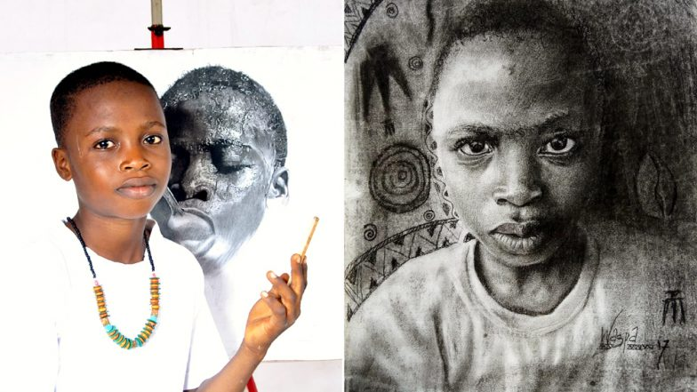 11-Year-Old From Nigeria Creates Realistic Paintings, Wins Praise Globally! Check Pics And Video of His Artworks