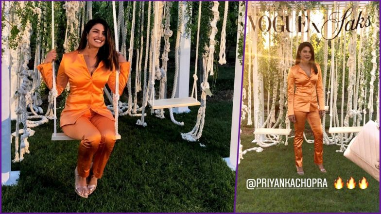 Priyanka Chopra Pulls Off Tricky Bright Orange Pantsuit With Great Panache at Vogue X Saks Dinner (See Pics)